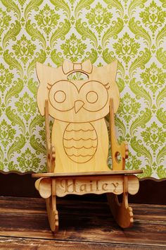 JUST LOVE THIS! ;)  Adorable Girly Owl Rocking Chair plus Puzzle by Dixonwoodworking, $37.50