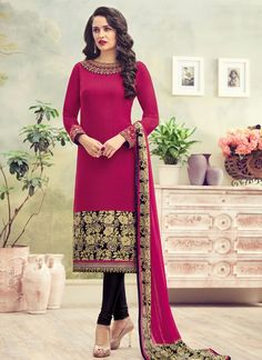 Genius Magenta Crepe Churidar Suit