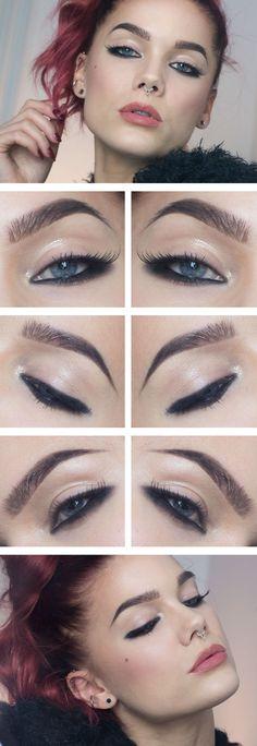 The Reversed Eyeliner look: NYX Slide on eye pencil black MAC eyeshadow Carbon MAC Gloss Ardell accents 305