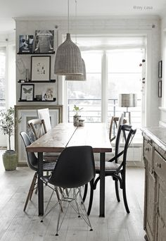 Modern kitchen - rustic, neutrals black accents @ My casa Woven Dining Chairs, Mismatched Dining Chairs, Dining Area, My Ideal Home, Living Spaces, Living Room, Piece A Vivre, Dining Room Furniture, Furniture Ideas