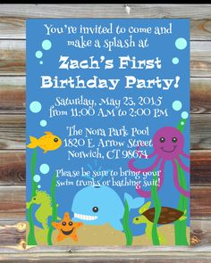 Printable Custom First Birthday Ocean Invitation for Boy - Boy 1st Birthday Party Invitation - Under the Sea Theme Birthday Party Invitation by ViaBarrett on Etsy