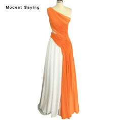 ... Orange and Ivory A Line One Shoulder Beaded Pleated Evening Dresses  2017 Formal Women Long Birthday Party Prom Gowns BE59 from Reliable evening  dress ... 0411c3533af5