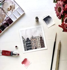 Watercolor amsterdam  Aquarelle painting