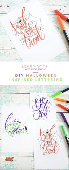 Halloween brush lettering tutorial with Tombow Dual brush pens | Inkstruck Studio