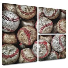 'Baseballs' by David Liam Kyle Flag 3 Piece Photographic Print Gallery-Wrapped on Canvas Set