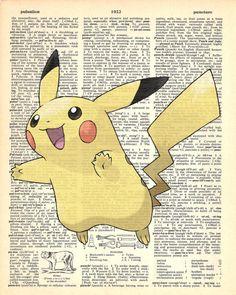 Pikachu Pokemon Dictionary Art Print by MollyMuffinsPrints on Etsy