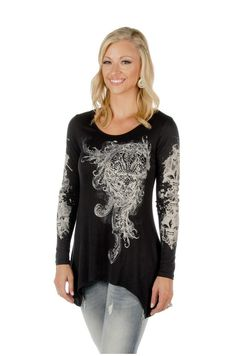 bf8a6eacb174 Fleur de lis design accented with bling. Knit top with comfortable fit,  easy style