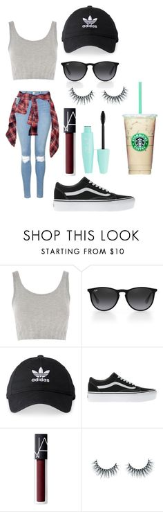 """""""Untitled #491"""" by marypogosian ❤ liked on Polyvore featuring Topshop, Ray-Ban, adidas, Vans, NARS Cosmetics and Unicorn Lashes"""