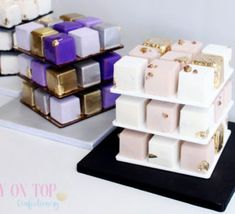 Farewell Cake, Mini Cake Stand, Rubik's Cube, Square Cakes, Cute Desserts, Cherry On Top, Cake Mold, Confectionery, Celebration Cakes