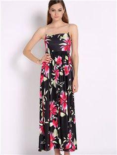 Strapless Sleeveless Print Vintage Dress