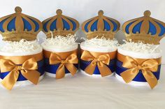 SET OF 4 Prince Mini Diaper Cakes, Prince Theme Baby Shower Centerieces, Royal Blue and Gold Party Decorations Baby Shower Gifts For Boys, Baby Shower Signs, Baby Shower Parties, Baby Shower Themes, Baby Boy Shower, Baby Gifts, Shower Ideas, Shower Party, Baby Shower Centerpieces