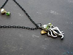 Cthulhu Octopus Pendant Layered Necklace by Bluestarfire on Etsy