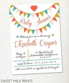 Printable Bunting Banner Baby Shower Invitation. $13.00, via Etsy.