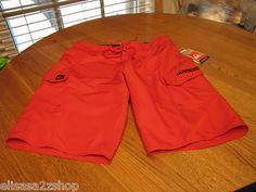 Men's Quiksilver board shorts swim surf manic 22 NEW red NWT 32 101326 JM253L