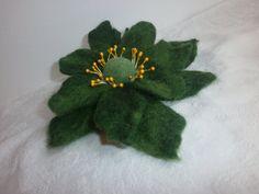 Felt brooch wool felt green flowerfelt green by FahionFeltProducts