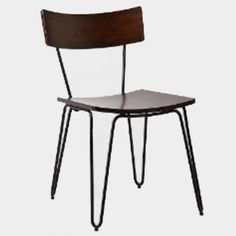 Vintage style cafe chairs available with a wooden seat and metal legs.