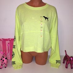 NEW PINK VS CROP TOP LOGO SWEATSHIRT PINK VICTORIA'S SECRET SWEATSHIRT  CROP LOGO SWEATSHIRT, LOGOS ON BOTH SLEEVES.  GORGEOUS PIECE!!!   COLOR GREEN NEON   SIZE S  FAST SHIPPING!!!      Check out my other items! I am sure you will find something that you will love it! Thank you for watch!!!!!   Be sure to add me to your favorites list! PINK Victoria's Secret Tops Sweatshirts & Hoodies