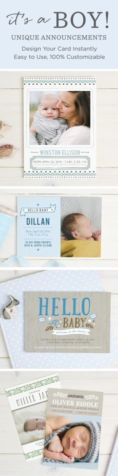 Design the perfect birth announcement for you baby boy with real-time previews you can see your card in minutes.