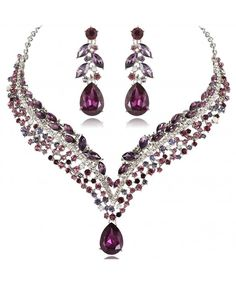 Shop Women's Austrian Crystal Decorative Leaf Teardrop Necklace Earrings Set - Purple Silver-Tone - Discover the best Jewelry Sets in Best Prices and Enjoy Fast Shipping. Purple Necklace, Purple Jewelry, Boho Jewelry, Pendant Jewelry, Silver Jewelry, Fashion Jewelry, Silver Ring, Leaf Necklace, Vintage Jewelry