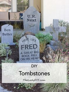 A step by step tutorial on how to make inexpensive DIY tombstones. Create your own custom and spooky cemetery this Halloween! Spooky Halloween, Halloween Veranda, Halloween Outside, Homemade Halloween, Halloween Birthday, Outdoor Halloween, Holidays Halloween, Diy Halloween Tombstones, Halloween Halloween