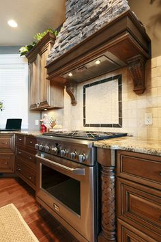 Dark Cabinets With Camel Countertops Backsplash Ideas