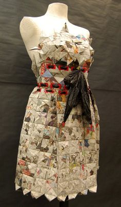 Dress made from newspaper, duct tape (for the button holes), and black plastic garbage bags. 2011