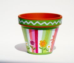 Hand Painted Terra Cotta Pot 4 Inch Sherbet by ThePaintedPine, $18.00