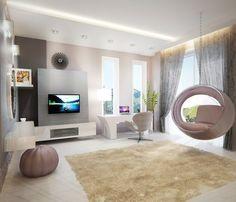 Tiniszoba, lányszoba, kerek ággyal, egyedi tervezésű bútorokkal - Dóró Judit