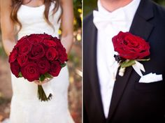Napa Winery Wedding - red rose bouquet and red rose boutineer - photography by Tim Halberg