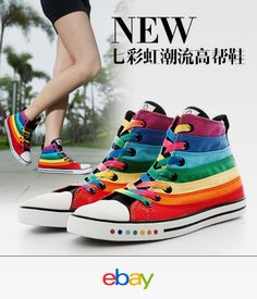 Cheap Women's Fashion Sneakers, Buy Directly from China Suppliers: 2014 spring atumn high increased color block rivet woman female canvas shoes sneakers Sexy High Heels, Womens High Heels, Womens Flats, Girls High Tops, Rainbow Shoes, Rainbow Colors, Womens Fashion Sneakers, Fashion Women, Women's Fashion