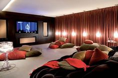 Fun media room - I'm doing this to the extra family room when my girls get older!!