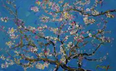 Homage to Van Gogh: Almond Blossom Ver I - Peter Max - x - Mixed Media on Paper Spring Desktop Wallpaper, Calendar Wallpaper, Computer Wallpaper, Desktop Backgrounds, Wallpaper Gallery, Dark Wallpaper, Mini Paintings, Original Paintings, Van Gogh Almond Blossom