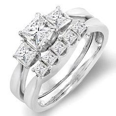 1.25 Carat (ctw) 14k White Gold Princess Diamond Ladies 3 Stone Bridal Engagement Ring Set 1 1/4 CT (Size 9)