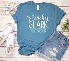 8b9d264572 Teacher Shark Shirt/ Teacher Shirt/ Teacher Gifts/ Teacher Appreciation/ Teacher  Christmas/ Gift for Teacher/ Teacher gift/ teacher tee