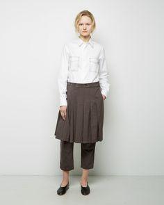 Comme des Garçons Comme des Garçons Embroidered Oxford Cotton Shirt, Comme des Garçons Comme des Garçons Pleated Skirt Pant #SS15