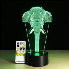 Optical Elephant Illusion Table Lamp 7 Colors Change Touch Button Sensitive Switch and 15 Keys Remote Control LED Light for Home Living Room Decor Led Lighting Home, Modern Led Ceiling Lights, 3d Optical Illusions, Led Night Light, Night Lights, Light Effect, Light Colors, Color Change, Table Lamp