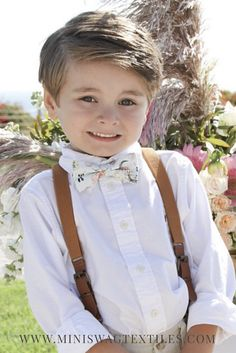 Boho bow tie and leather buckle suspenders, ring bearer outfit, boys bow tie, toddler suspenders, little boy style, Boho wedding, wedding suspenders, baby bow tie