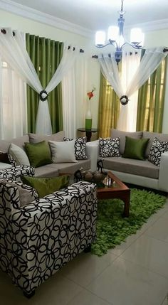 Green And White Living Room Diy Curtains, Window Curtains, Purple Curtains,  Curtain Designs
