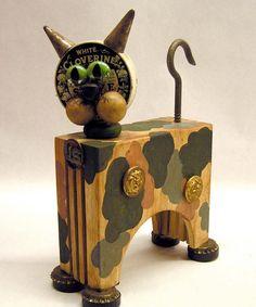Mixed Media Assemblage Art Junkyard Cat by mixedmediamax on Etsy, $48.00. https://www.etsy.com/listing/155297015/mixed-media-assemblage-art-junkyard-cat?ref=br_feed_41&br_feed_tlp=art