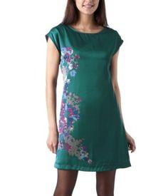 Robe soyeuse à motifs fleuris imprimé emeraude - Promod