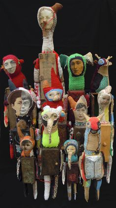 Cecile Perra unusual surreal mixed media textile and collage sculpture art dolls