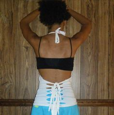 Upcycle a T-shirt into a halter, no sewing required.