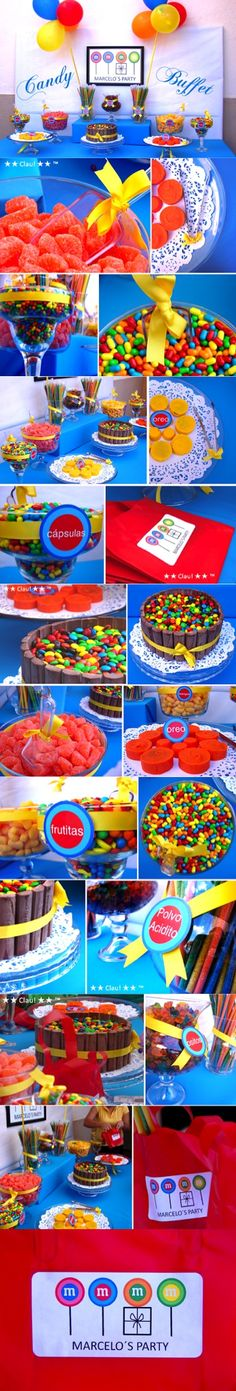 Candy Buffet: M&Ms Birthday Party / M&Ms theme for dessert table / Mesa de dulces ~ crazy colorful candy tables at this sight