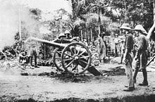 British artillery in Kamerun, 1915. Royal Navy QF 12 pounder 8 cwt gun in action at Fort Dachang, Cameroons, 1915. West Africa Campaign. Note drag shoes fitted under wheels to limit recoil.