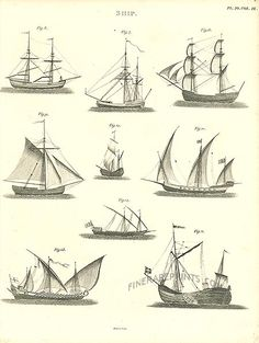 Antique print: picture of Ship - Various designs