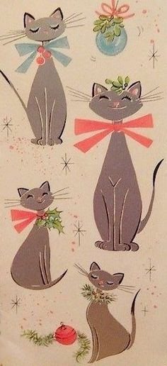 Old Christmas Post Сards — Kitty Christmas and like OMG! get some yourself some pawtastic adorable cat appar Vintage Christmas Images, Old Christmas, Retro Christmas, Vintage Holiday, Christmas Crafts, Christmas Artwork, Hallmark Christmas, Christmas 2019, Illustration Noel