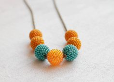 Mandarin Iridescent Orange & Mint Blue Necklace Beaded Beads