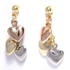 "Tri Color Hearts 18k Yellow Gold, Rose Gold and Rhodium Plated Kids Teens Pierced Dangle Earrings Kids Jewelry USA. $14.97. Free Jewelry Pouch Included. 18k Yellow Gold, Rose Gold and Rhodium Plated. 1"" Length"
