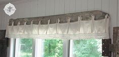 Make a barnwood bedskirt window treatment! This cool barn wood bedskirt window treatment is a fresh twist to a standard window valance for certain! Creative window treatments are the best! By Prodigal Pieces featured on I Love That Junk Rustic Window Treatments, Valance Window Treatments, Kitchen Window Treatments, Patio Door Coverings, Window Coverings, Style At Home, Kitchen Window Valances, Wood Valances For Windows, Sliding Glass Door