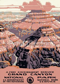 National Park, a free government service. This poster shows a sunset view of the Grand Canyon. Originally created for the US Department of the Interior, National Park Service, [ca. 1938]. Work Project